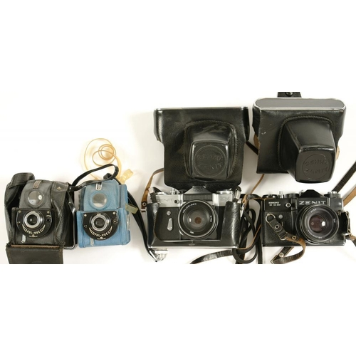 408 - <p>TWO ZENIT 35MM CAMERAS ONE OLYMPICS COMMEMORATIVE 1980 AND TWO EARLIER ROLL FILM CAMERAS </p>...