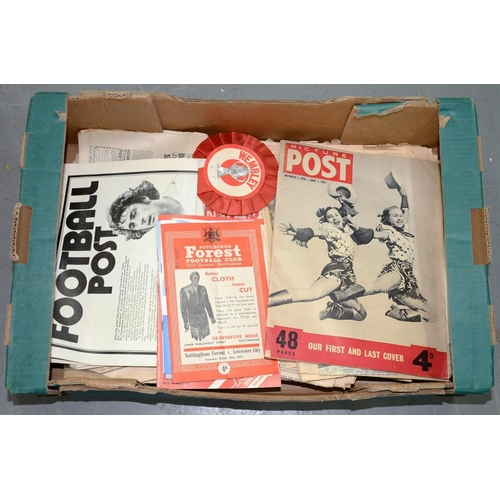 448 - <p>MISCELLANEOUS PRINTED EPHEMERA OF SOCCER RELEVANCE, INCLUDING LOCAL NOTTINGHAM PAPERS, PICTURE PO...