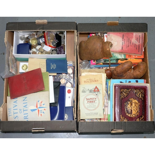 450 - <p>A COLLECTION OF POSTAGE STAMPS, BANK NOTES, CIGARETTE CARDS AND COINS, SEVERAL 1960S CHILDREN'S A...
