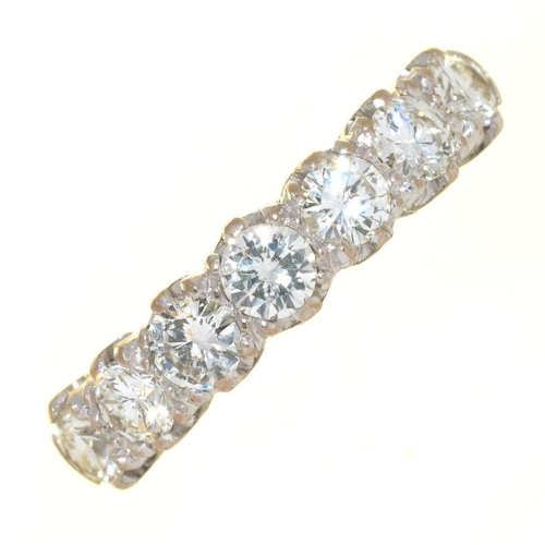 46 - <p>A SEVEN STONE DIAMOND RING, THE BRILLIANT CUT DIAMONDS 1.2CT, H/I COLOUR, VS2 CLARITY APPROX, IN ...