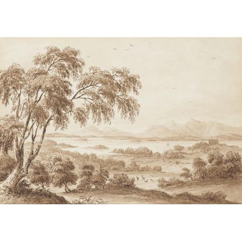 502 - <p>WILLIAM MURRAY, FL, EARLY 19TH CENTURY LOCH MAREE pen, bistre ink and watercolour, en grisaille, ...