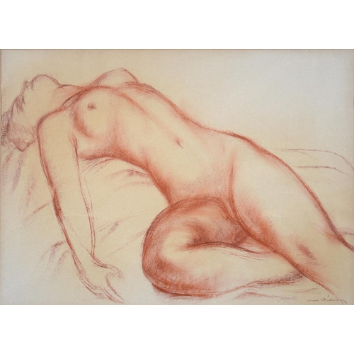 505 - <p>20TH C SCHOOL, RECLINING NUDE, INDISTINCTLY SIGNED, RED CHALK WITH GALLERY BLIND STAMP, 45 X 62CM...