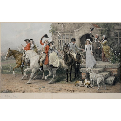 520 - <p>AFTER ALFRED STRUT, HUNTING SCENE AND ANOTHER, PHOTO LITHOGRAPHS PRINTED IN COLOUR, PUBLISHED 190...
