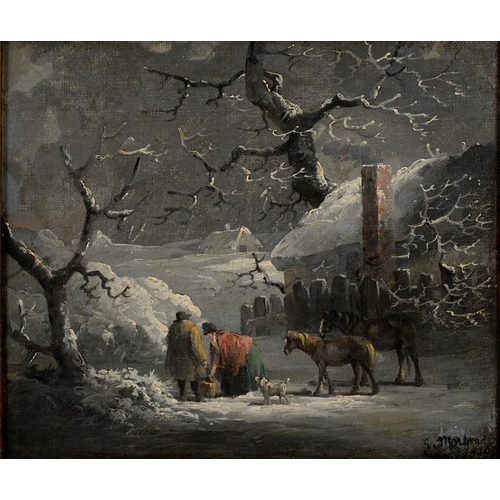 526 - <p>19TH CENTURY FOLLOWER OF GEORGE MORLAND - FETCHING WATER FROM A FROZEN POND, BEARS SIGNATURE AND ...