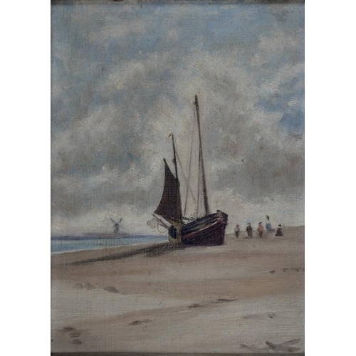 534 - <p>ENGLISH SCHOOL, LATE 19TH CENTURY - A BEACHED BOAT WITH DISTANT WINDMILL, OIL ON CANVAS, 16.5 X 1...