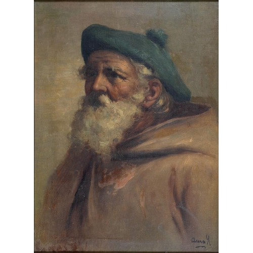 536 - <p>19TH CENTURY SCHOOL - PORTRAIT OF A BEARDED MAN IN A CAP AND CLOAK, HEAD AND SHOULDERS, INDISTINC...