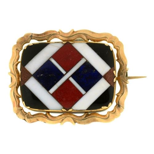 58 - <p>A VICTORIAN PIETRE DURE BROOCH OF LAPIS LAZULI, SUNSTONE AND AGATE, IN GOLD, UNMARKED, 2.7 X 3.4 ...