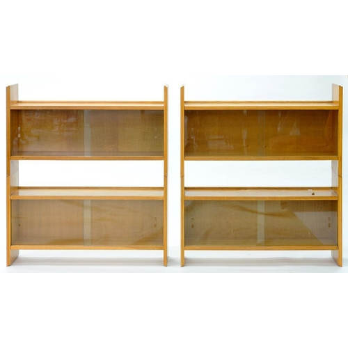 588 - <p>A PAIR OF OAK SECTIONAL BOOKCASES, EACH OF TWO SECTIONS,  103CM H X 92CM W</p>...