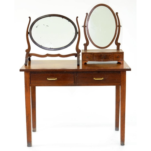 604 - <p>A MAHOGANY SIDE TABLE, ON SQUARE TAPERING LEGS, EARLY 20TH C, 76CM H, 102CM W, AN INLAID MAHOGANY...