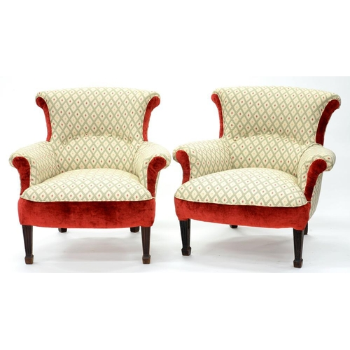 626 - <p>A PAIR OF VICTORIAN ARMCHAIRS, LATER UPHOLSTERED IN BUTTON BACK FABRIC, BELIEVED TO BE FROM THE R...