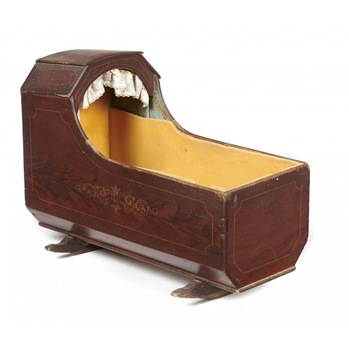 652 - <p>AN ENGLISH PAINTED WOOD CRADLE, FIRST HALF 19TH C, dark red-brown gained decoration and with outl...