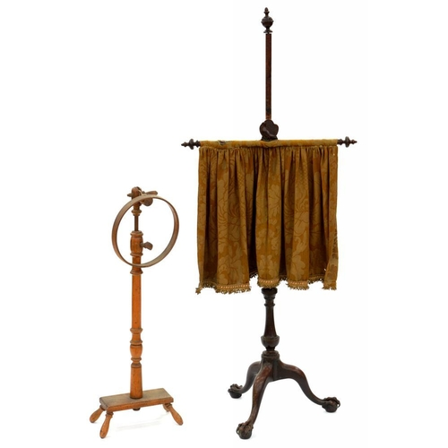 653 - <p>A GEORGE III MAHOGANY POLE SCREEN ON CLAW AND BALL FEET, WITH BRASS CLAWS, ADAPTED AND DAMAGED, 1...