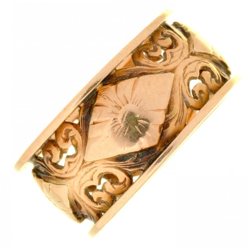 10 - <p>A PIERCED GOLD RING MARKED 750, SIZE I, 5.5G</p><p></p>...