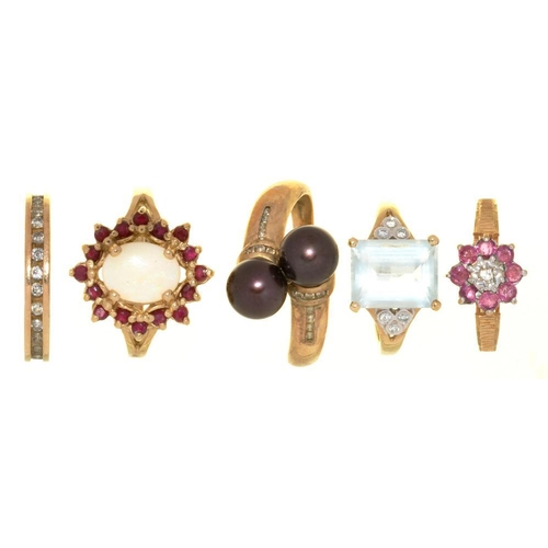 11 - <p>FIVE GEM SET 9CT GOLD RINGS, COMPRISING A DIAMOND BAND RING, A RUBY AND DIAMOND CLUSTER RING, AN ...