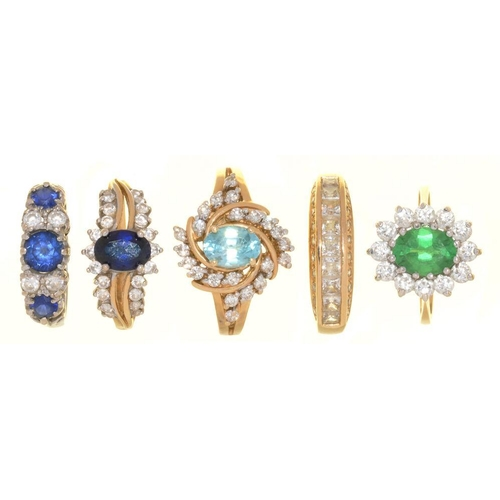 19 - <p>A ZIRCON AND DIAMOND RING IN 14CT GOLD, SIZE N�, AND FOUR GEM SET RINGS IN 14CT GOLD, SIZE K� - L...