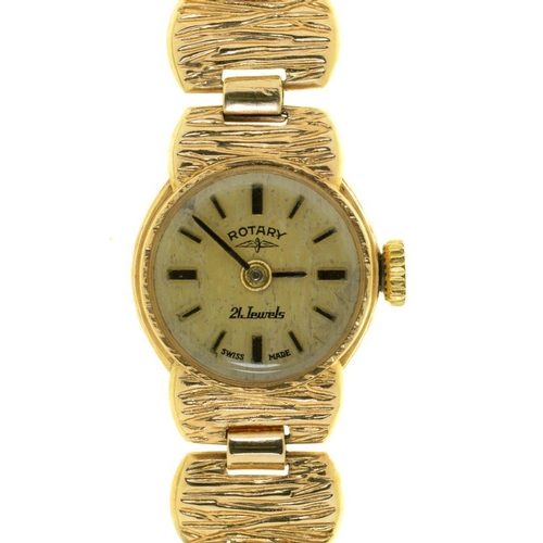 24 - <p>A ROTARY 9CT GOLD LADY'S WRISTWATCH, ON 9CT GOLD BRACELET, 14.5G</p><p></p>...