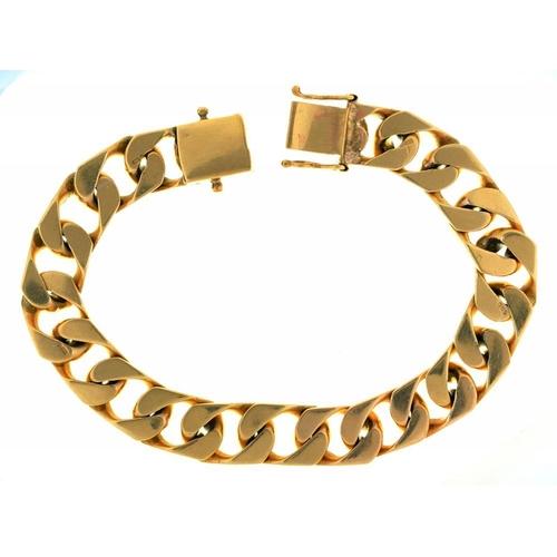 25 - <p>A 9CT GOLD CURB LINK BRACELET, 48.5G</p><p></p>...
