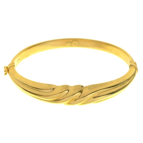 43 - <p>A GOLD BANGLE, MARKED 750, 13G</p><p></p>...