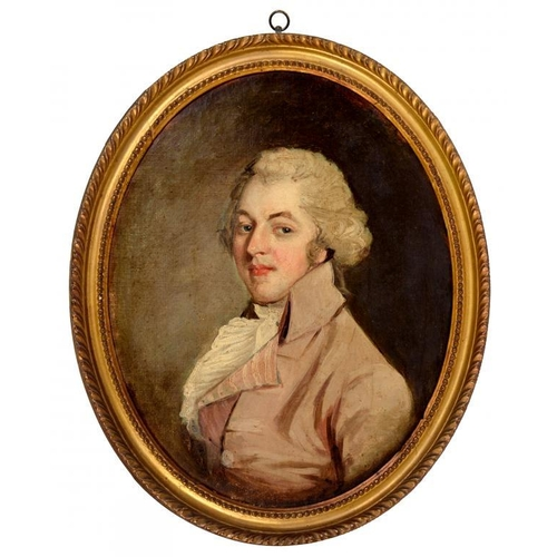 515 - <p>ENGLISH SCHOOL, LATE 18TH C PORTRAIT OF A GENTLEMAN  bust length in a white cravat in pale pink c...