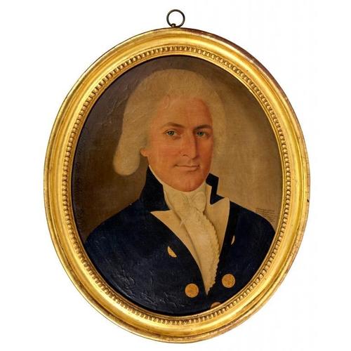 516 - <p>SPOILUM (FL 1785-1805) PORTRAIT CAPTAIN GEORGE  DELANOE, RN  head and shoulders, in blue coat wit...
