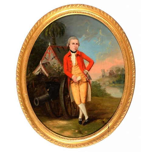 517 - <p>FOLLOWER OF THOMAS HICKEY  PORTRAIT OF A GENTLEMAN small full length in black stock, red coat, ye...