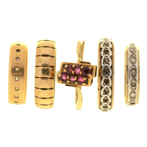 37 - FIVE GOLD RINGS, IN 9CT GOLD, MARKED 9CT OR UNMARKED, 14.5G, ALL BUT ONE GEM-SET, SIZE N - W...