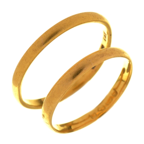 38 - TWO 22CT GOLD WEDDING RINGS, 4G, SIZE N & S...