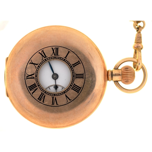 45 - A J W BENSON 9CT GOLD HALF HUNTING CASED KEYLESS LEVER WATCH, 63G, ON GOLD PLATED ALBERT...