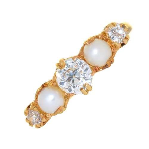 60 - AN OLD CUT DIAMOND AND CULTURED PEARL RING, IN GOLD MARKED 18CT, 3G, SIZE M½...