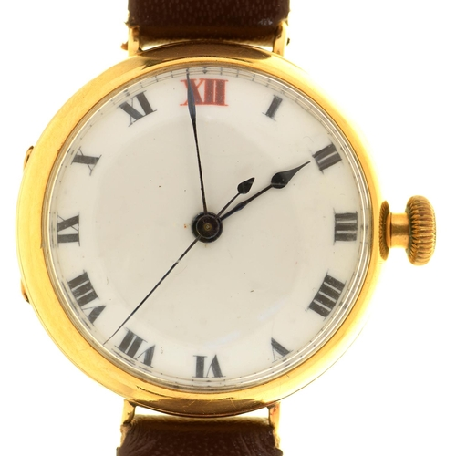 13 - AN 18CT GOLD GENTLEMAN'S WRISTWATCH, BIRMINGHAM 1919, MAKER ALD, NUMBERED 170730, ON LEATHER STRAP, ...