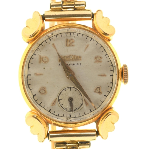20 - A HERODIA 18CT GOLD LADY'S WRISTWATCH, ON GOLD EXPANDING BRACELET, UNMARKED, 20 MM DIAM, 19G...
