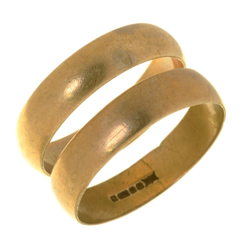 50 - TWO 9CT GOLD WEDDING RINGS, 5G, SIZE P½ AND R...