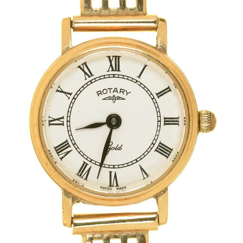 9 - A ROTARY 9CT GOLD LADY'S WRISTWATCH, 9CT GOLD BRACELET, 18G...