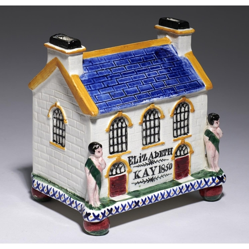 197A - <strong>AN PRATTWARE CHAPEL BANK OF THE LARGER SIZE, YORKSHIRE, PROBABLY MEXBOROUGH, DATED 1850 </st...