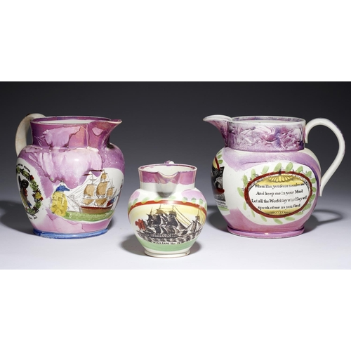 199 - <strong>ONE SUNDERLAND AND TWO NEWCASTLE LUSTRE JUGS</strong> with one or more polychrome sponged t...