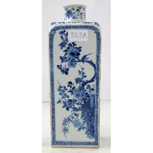 323a - <strong>A JAPANESE BLUE AND WHITE FLASK, EDO PERIOD, 18TH C </strong>of square section, each face pa...