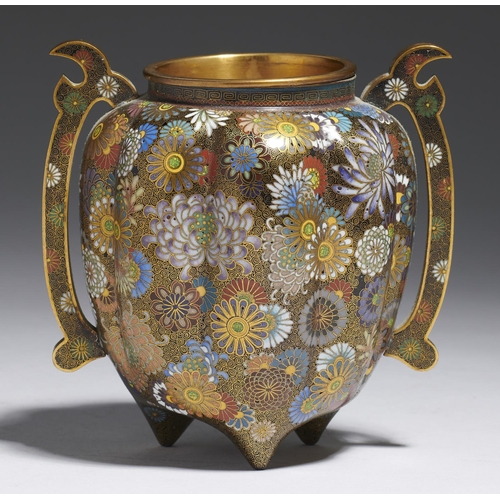 324 - <strong>A JAPANESE CLOISONNE ENAMEL TRIPOD VESSEL, TAISHO PERIOD</strong>of lobed organic form, dec...