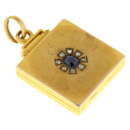 39 - A VICTORIAN SAPPHIRE AND DIAMOND LOCKET, C1880 in gold, 2cm w, 12g