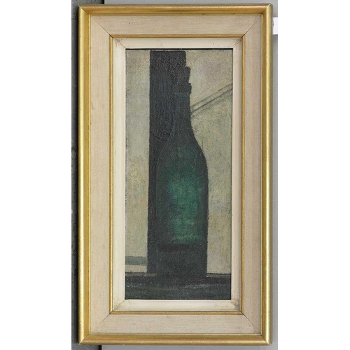 424 - <strong>PRUNELLA CLOUGH (1919-1999)</strong> <strong>BOTTLE BY A WINDOW,</strong> oil on hardboard, ...