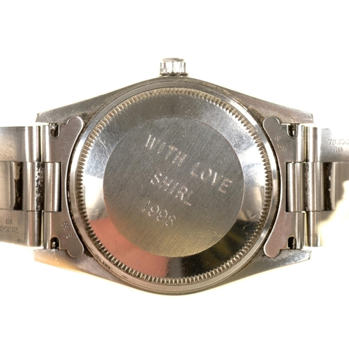 45 - A ROLEX STAINLESS STEEL GENTLEMAN'S WRISTWATCH AIR KING Ref 14000, No T681091, maker's bracelet, 3....