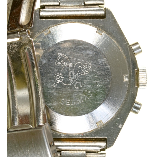 50 - AN OMEGA STAINLESS STEEL CHRONOGRAPH WRISTWATCHSEAMASTERNo 31620930, later bi-metal bracelet, 3.9 ...