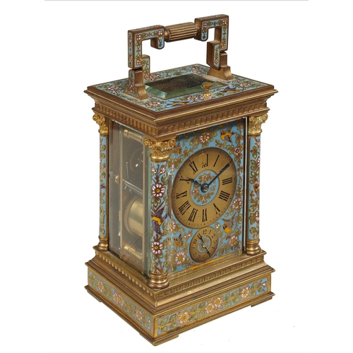 552 - <strong>A FRENCH GILT BRASS AND  CHAMPLEVE ENAMEL CARRIAGE CLOCK, LATE 19TH C </strong> with subsidi...