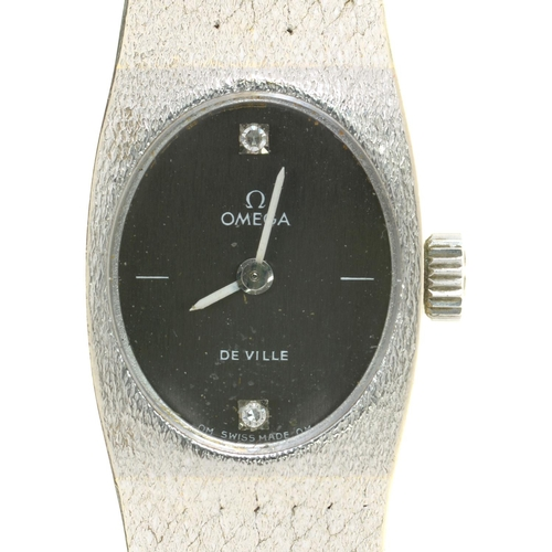 60 - <strong>AN OMEGA 18CT WHITE GOLD LADY'S WRISTWATCH WITH DIAMOND SET DIAL DE VILLE </strong> No 28567...