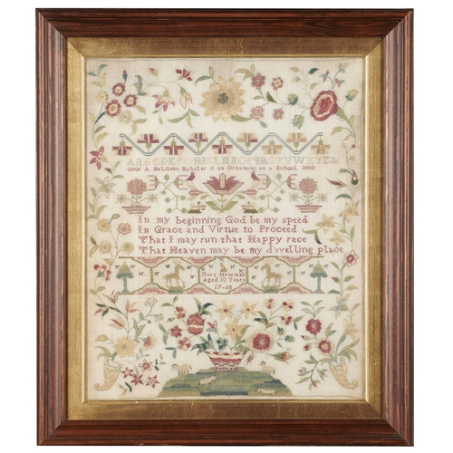 633 - <strong>A ENGLISH LINEN SAMPLER, 1768</strong> worked in well preserved silks with central inscripti...