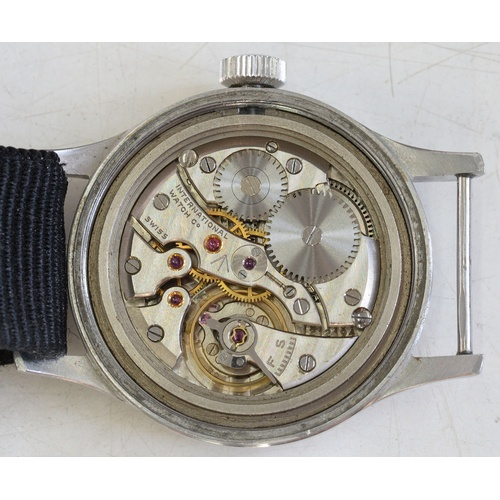 48 - AN INTERNATIONAL WATCH CO BRITISH MILITARY ISSUE WRISTWATCHNo1212194, black dial with broad arrow a...