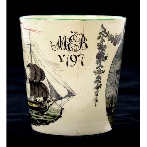 198 - <strong>SLAVE TRADE. A RARE LIVERPOOL PRINTED CREAMWARE BEAKER, DATED 1797 </strong>transfer printed...
