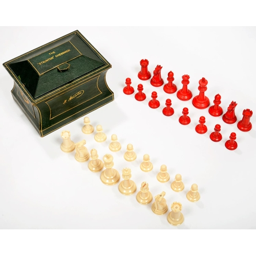 300 - A JAQUES IVORY STAUNTON CHESS SET, STAINED RED AND NATURAL, KINGS 9CM H, BOTH KINGS STAMPED JAQUES L...