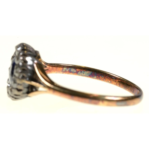 1 - <strong>A SAPPHIRE AND DIAMOND RING</strong> the cushion shaped sapphire surrounded by old cut diam...