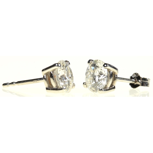17 - <strong>A PAIR OF DIAMOND EAR STUDS  </strong> each round brilliant cut diamond of approx 1.5ct each...