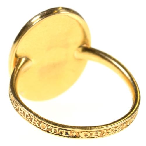 4 - <strong>A GOLD MOURNING RING, 1779</strong>set with an oval miniature painted en grisaille with a l...